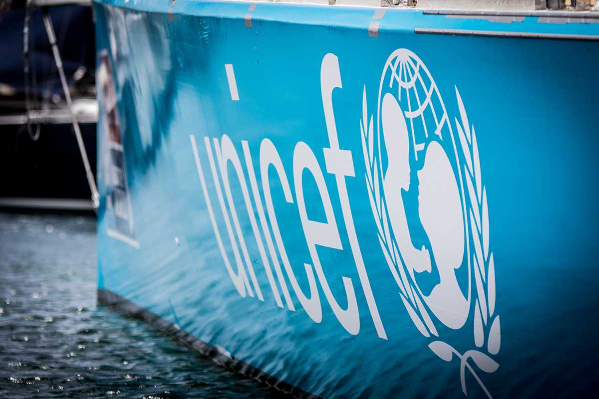 UNICEF branded yacht