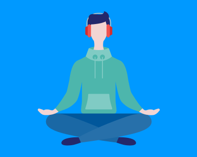 An illustration of a teenage boy meditating